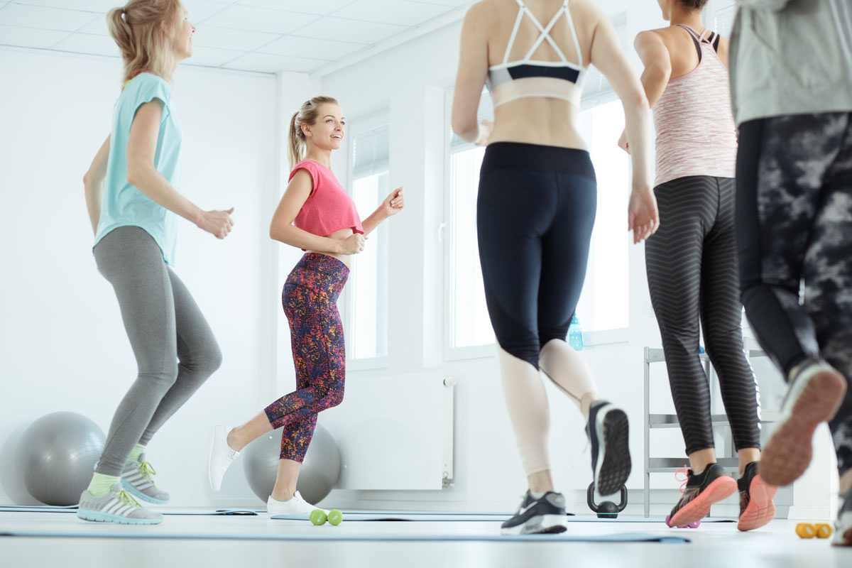 Aerobic classes for women on a gym